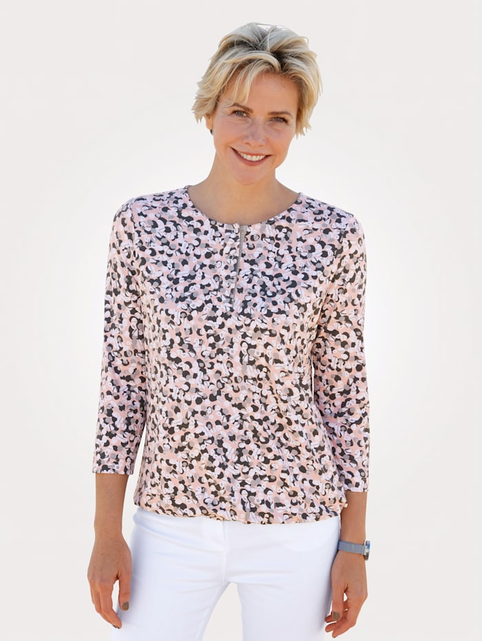 Rabe Shirt met print rondom, Roze/Grijs