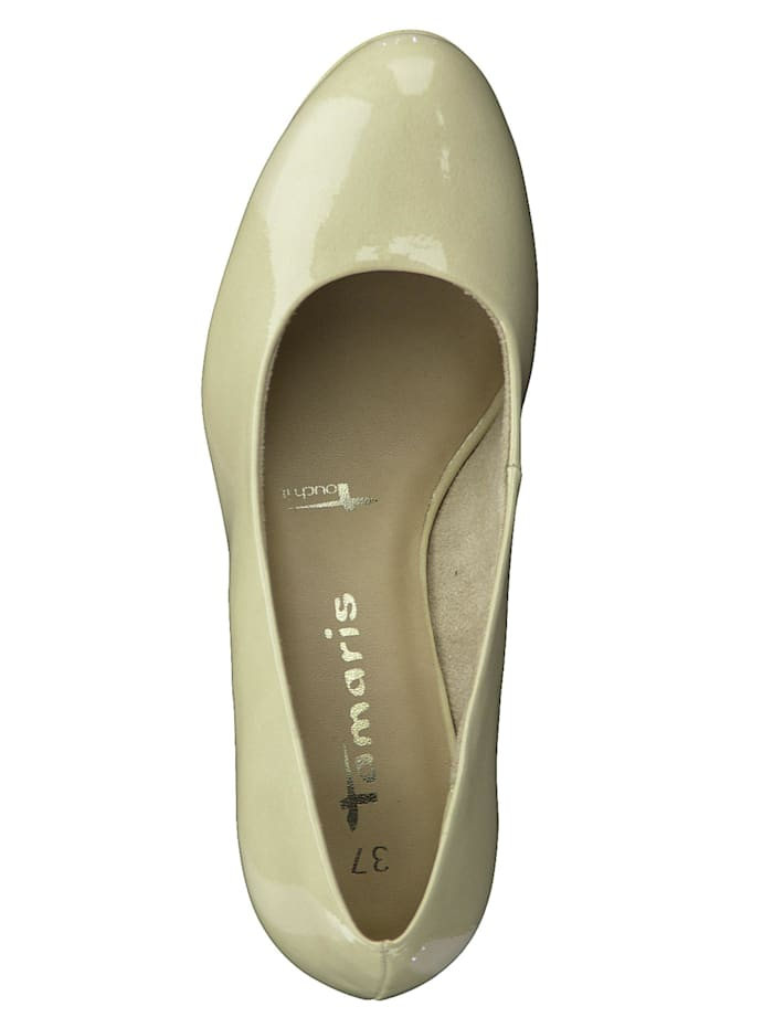 Damen Plateau Pumps  1-22444-25 Creme 451 CREAM PATENT  mit TOUCH-IT