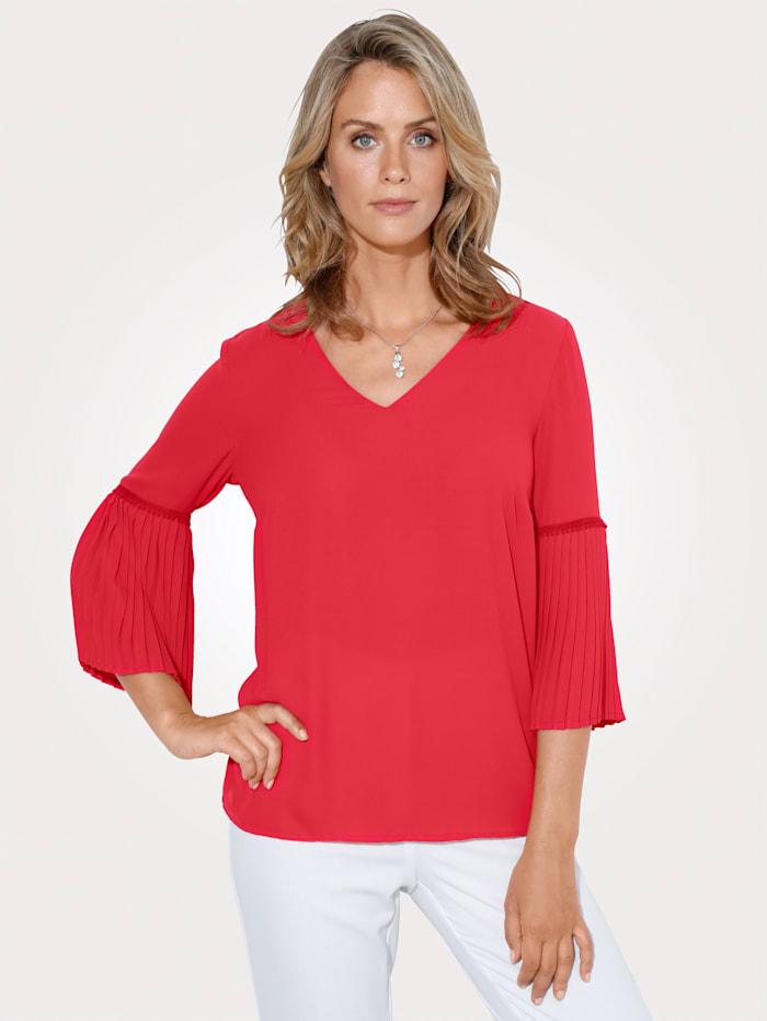 MONA Bluse mit Plissee- Ärmel, Rot