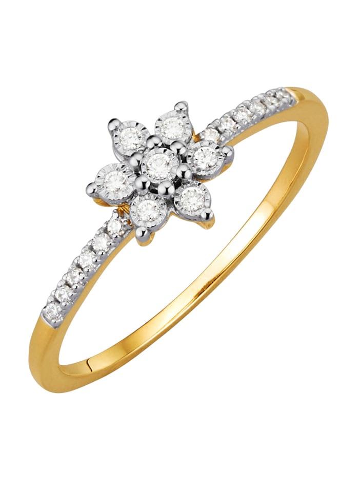 Diemer Highlights Damenring mit Diamanten, Gelbgoldfarben