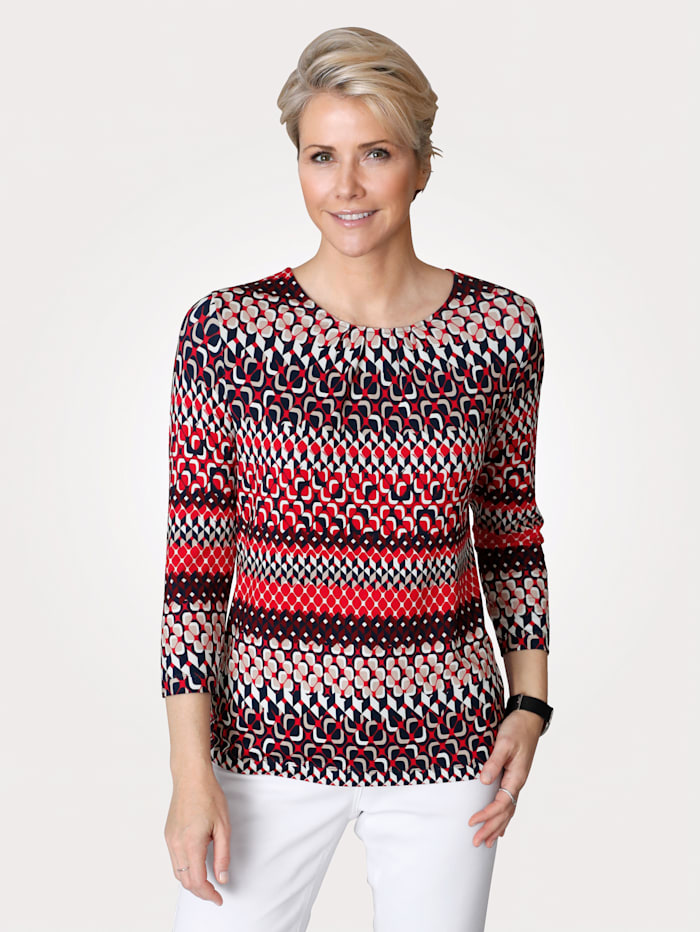 Rabe T-shirt à encolure raffinée, Rouge/Marine/Blanc