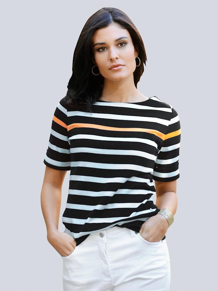 Alba Moda Shirt im Ringel-Dessin, Schwarz/Off-white/Pfirsich