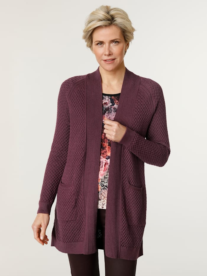MONA Cardigan in a textured knit, Berry