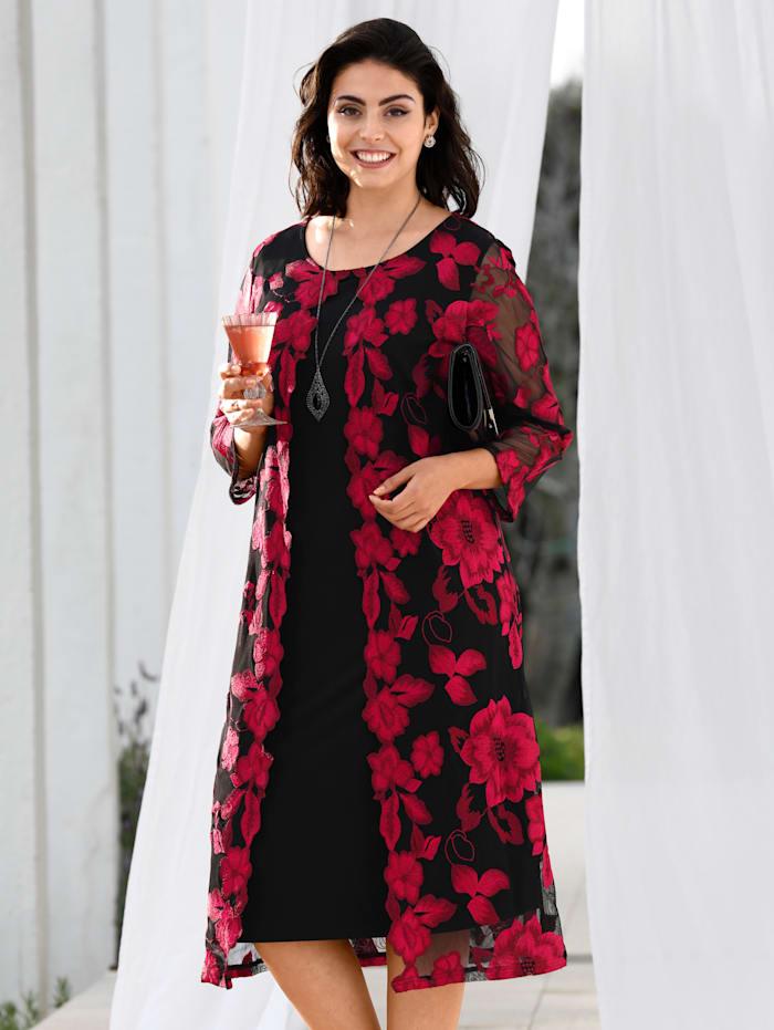 m. collection Jurk in elegante 2-in-1-look, Zwart/Rood