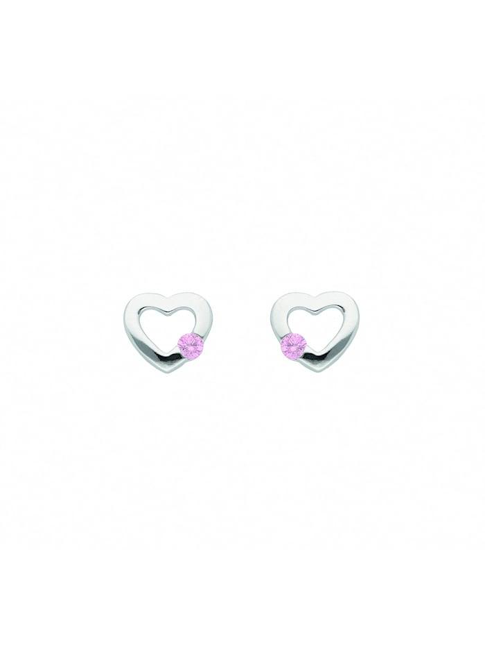 1001 Diamonds Damen Silberschmuck 925 Silber Ohrringe / Ohrstecker Herz mit Zirkonia, bunt
