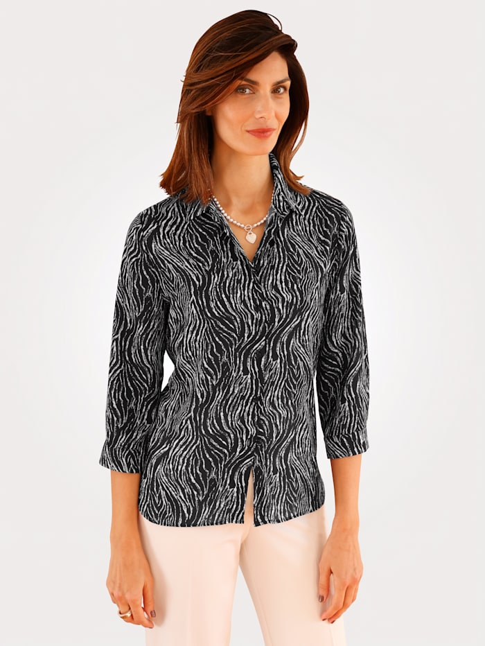 MONA Blouse met zebraprint, Zwart/Ecru