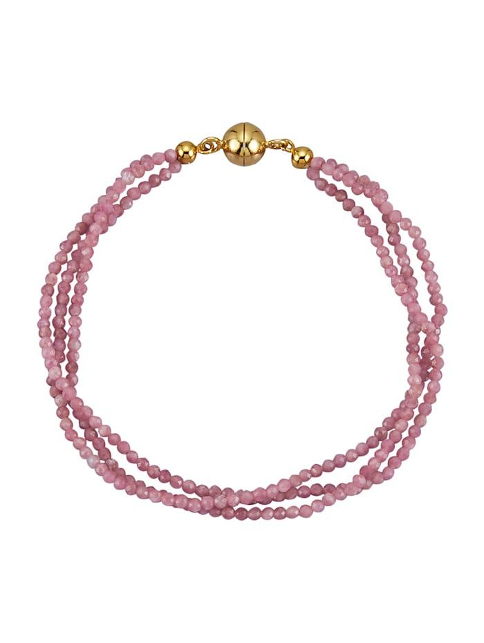 3-rijige armband van echt zilver, Pink