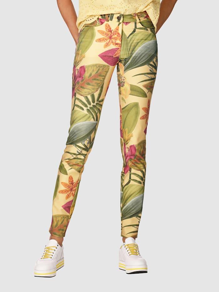 Jeans med blommönster