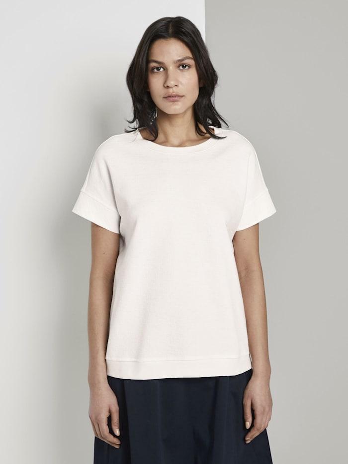 Tom Tailor Strukturiertes T-Shirt, Whisper White