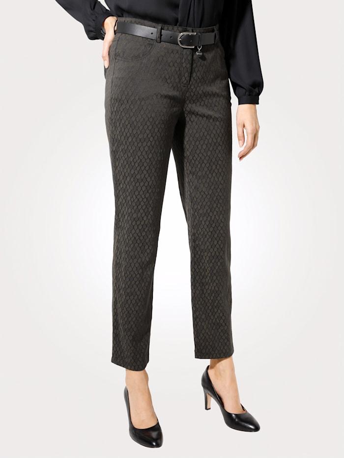 MONA Pantalon à motif jacquard graphique, Olive/Noir