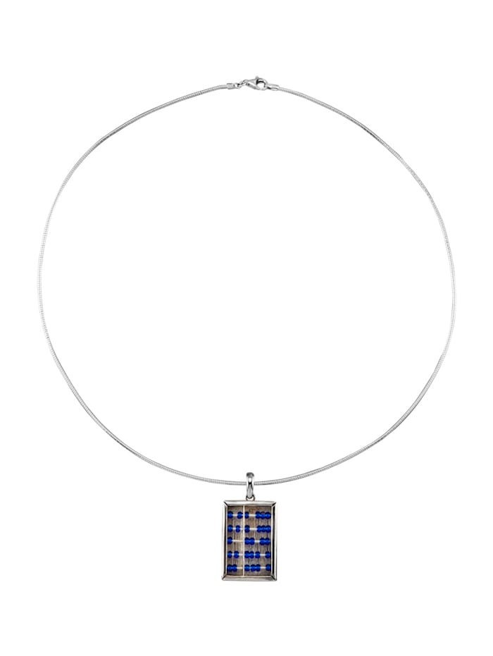 Ursula Christ Hanger met ketting met glasparels, Blauw