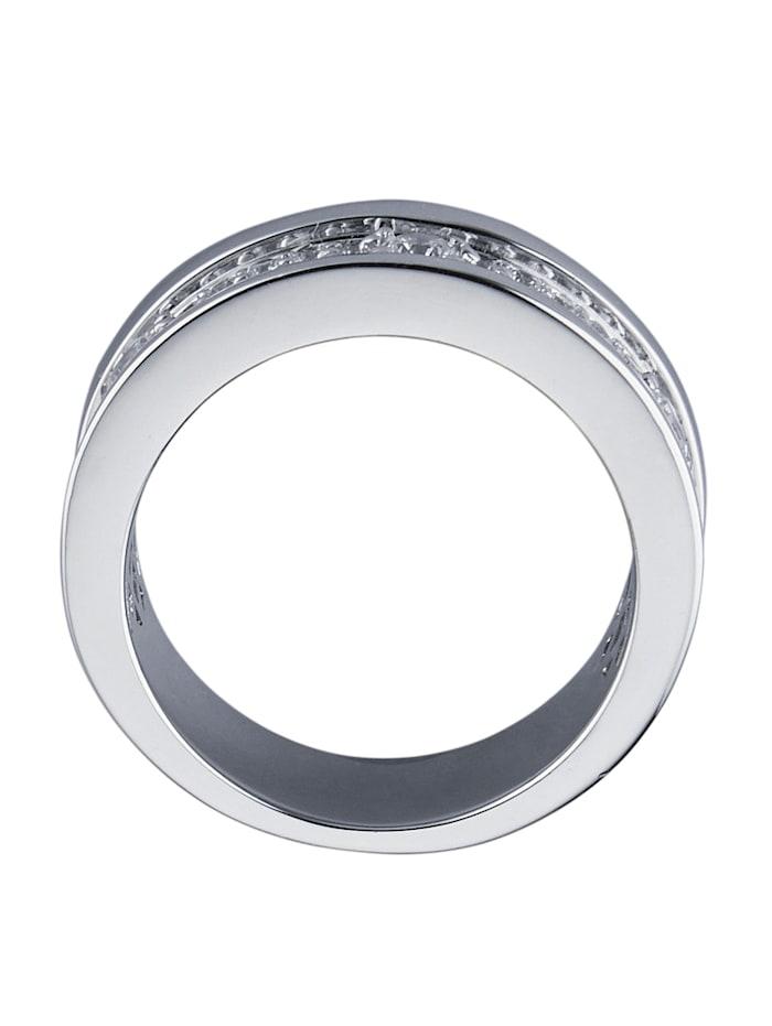 Diemer Trend Damesring met zirkonia's, Zilverkleur