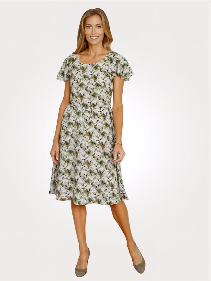 MONA Kleid im modischen Floraldessin, Ecru/Hellgrün