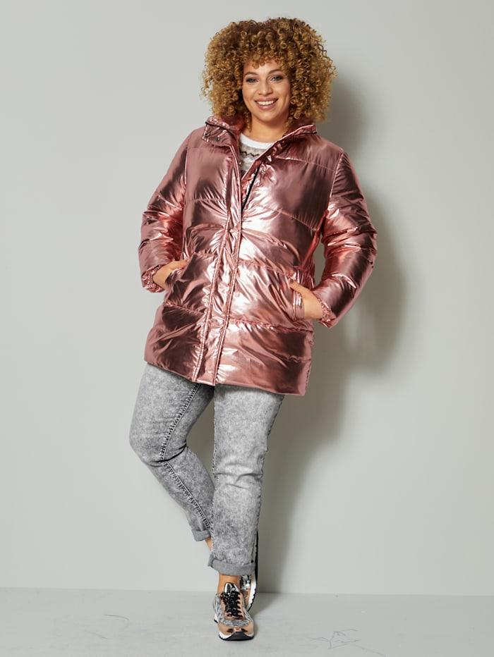 Angel of Style Steppjacke mit futuristischem Glanz, Altrosa