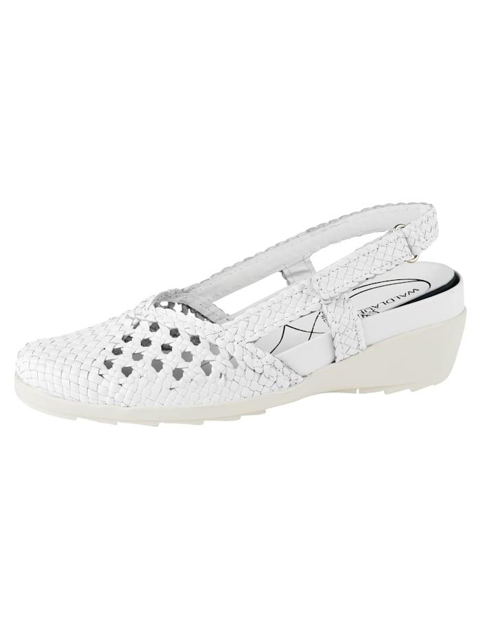 Waldläufer Slingback shoes elaborately braided leather, White