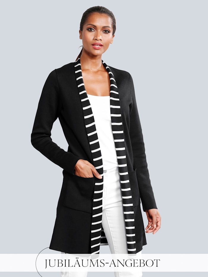 Alba Moda Strickjacke mit dekorativem Streifen-Dessin im Innenteil, Schwarz/Weiß