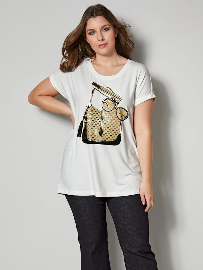 Sara Lindholm Shirt in leicht taillierter Form, Ecru/Goldfarben