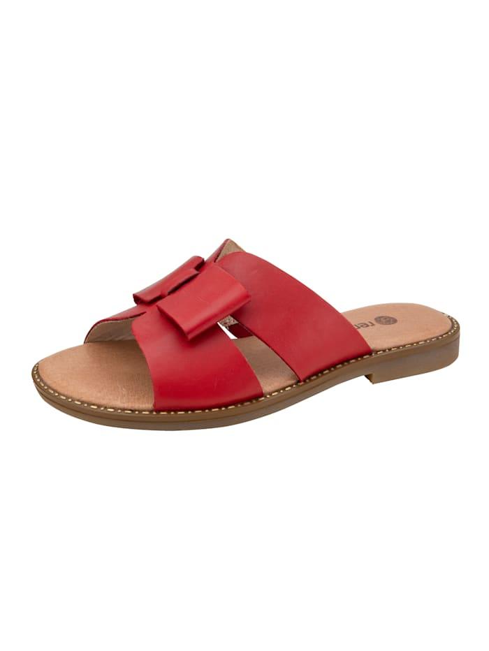 Remonte Pantolette mit Schleifenapplikation, Rot