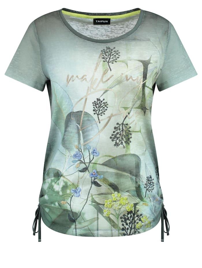 Taifun T-Shirt mit seitlichen Raffungen, Botanical Green gemustert
