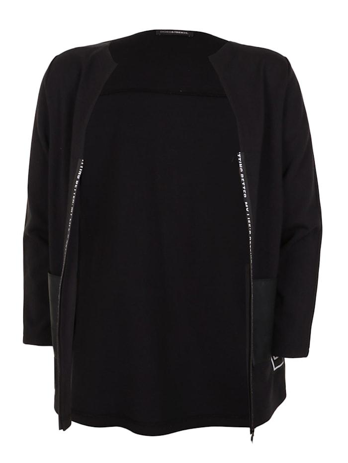 Doris Streich Jacke mit Zierstreifen, schwarz