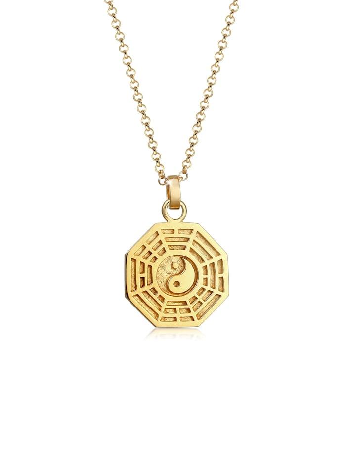 Elli Halskette Bagua Symbol Münze Vintage 925 Silber Vergoldet, Gold