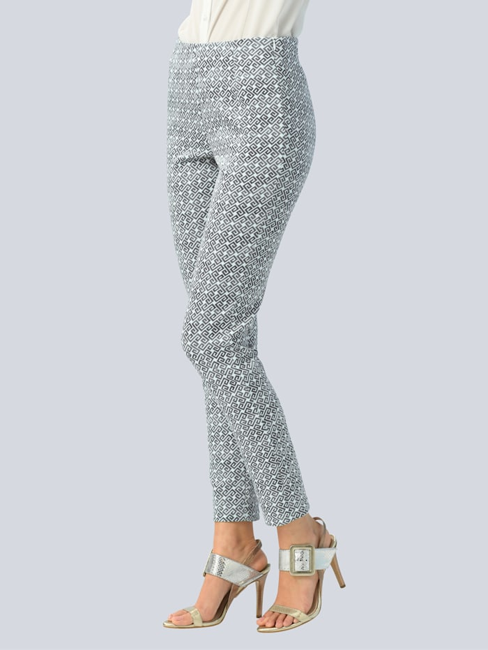 Alba Moda Hose mit modischem allover Print, Grau/Weiß