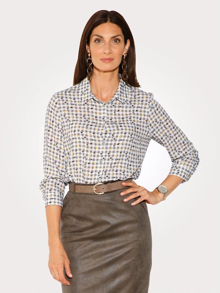 MONA Bluse mit Karodruck, Ecru/Khaki