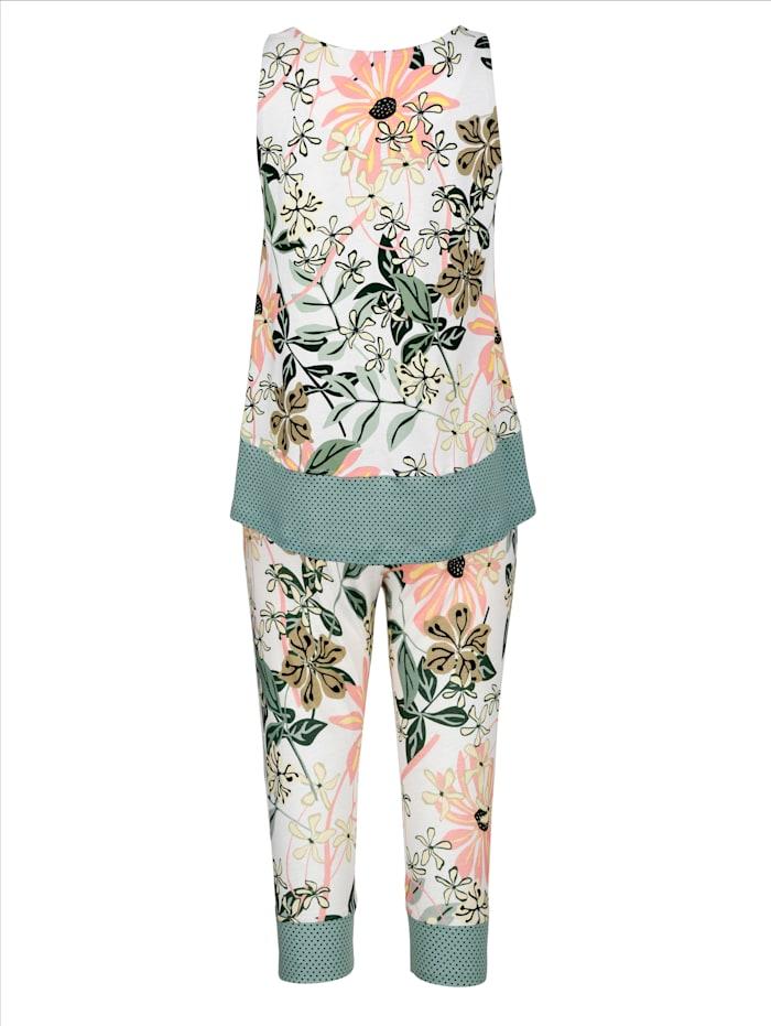 Schlafanzug mit getupften Bündchenabschlüssen und Dehnbund