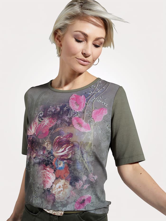 Rabe Top with colourful flower pattern, Olive/Pink