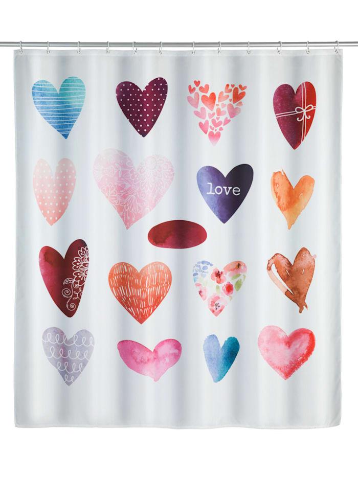 Wenko Duschvorhang Love, Textil (Polyester), 180 x 200 cm, waschbar, Mehrfarbig