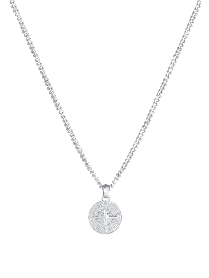 Halskette Herren Panzerkette Kompass Cool Massiv 925 Silber