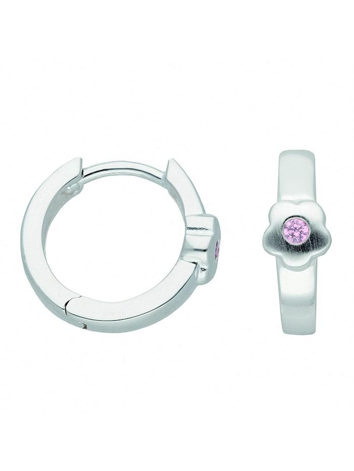 1001 Diamonds Damen Silberschmuck 925 Silber Ohrringe / Creolen Blüte mit Zirkonia Ø 13,3 mm, rosa