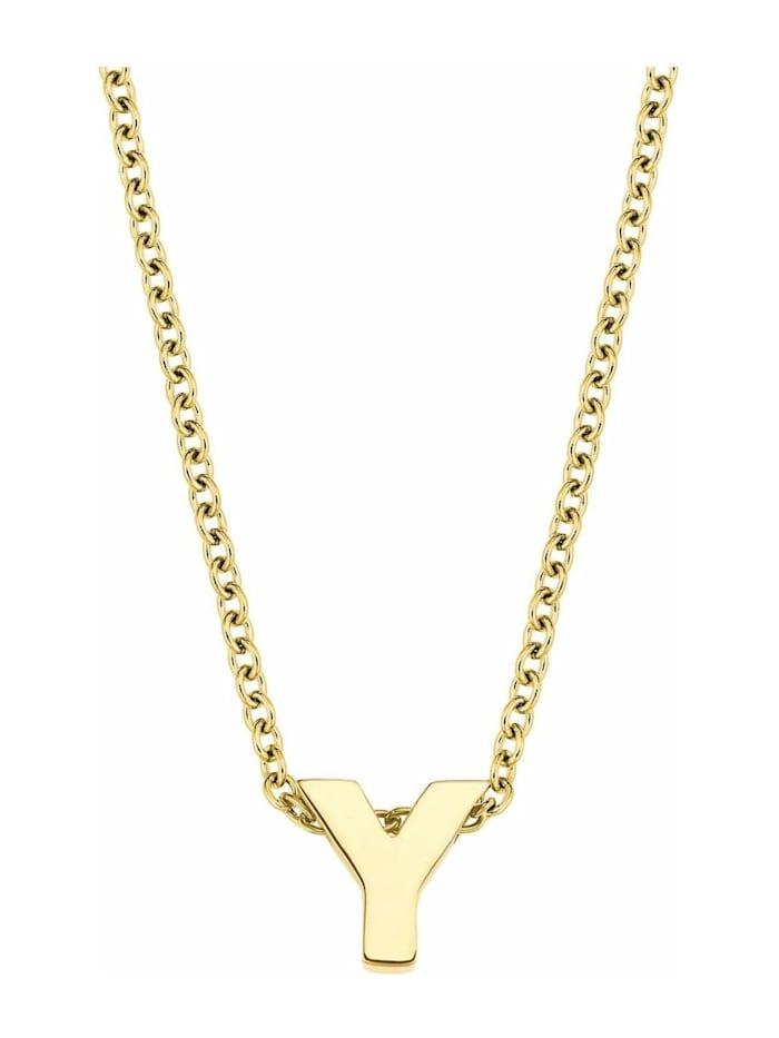 amor Kette mit Anhänger Unisex, Buchstabe Y, Letter, Edelstahl gelbvergoldet, Silber
