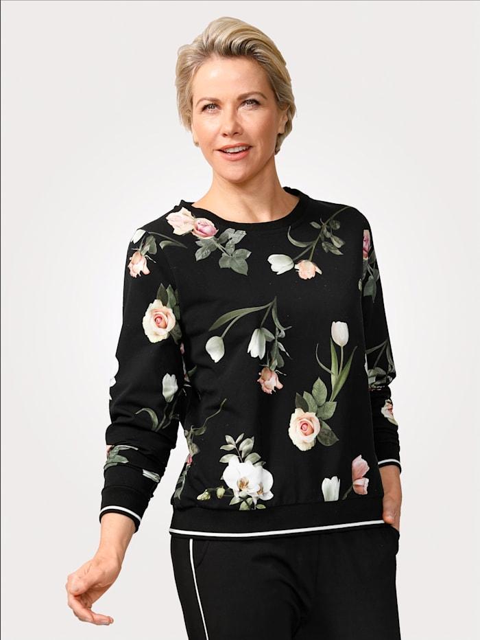 MONA Sweatshirt met bloemenprint, Zwart/Donkergroen/Roze
