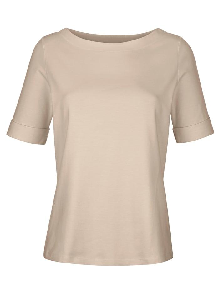 Alba Moda Shirt van een hoogwaardige materiaalmenging, Zand