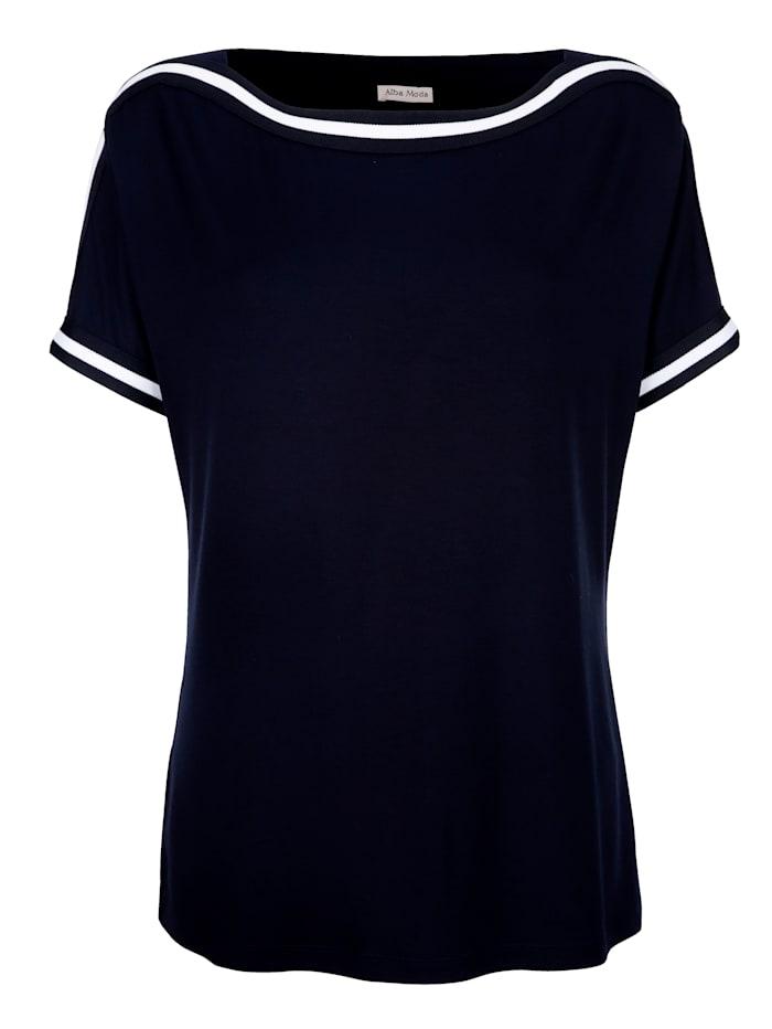 Alba Moda Shirt mit kontrastfarbigen Bordüren, Marineblau/Off-white