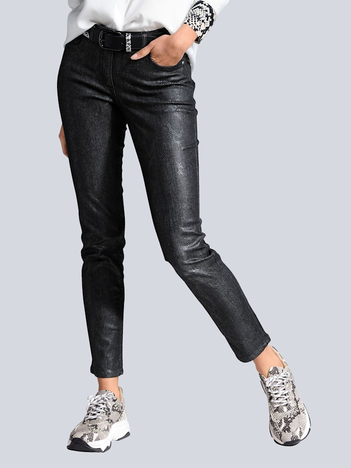 Alba Moda Jeans mit Druck in Snake Optik, Anthrazit
