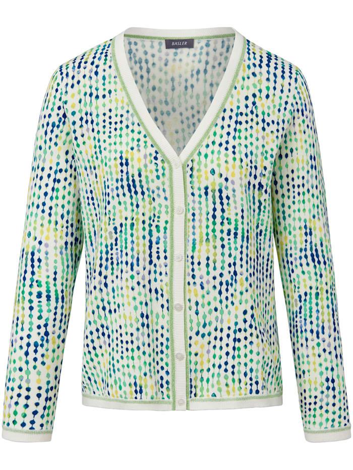Basler Strickjacke mit V-Ausschnitt und Muster, offwhite multicolour