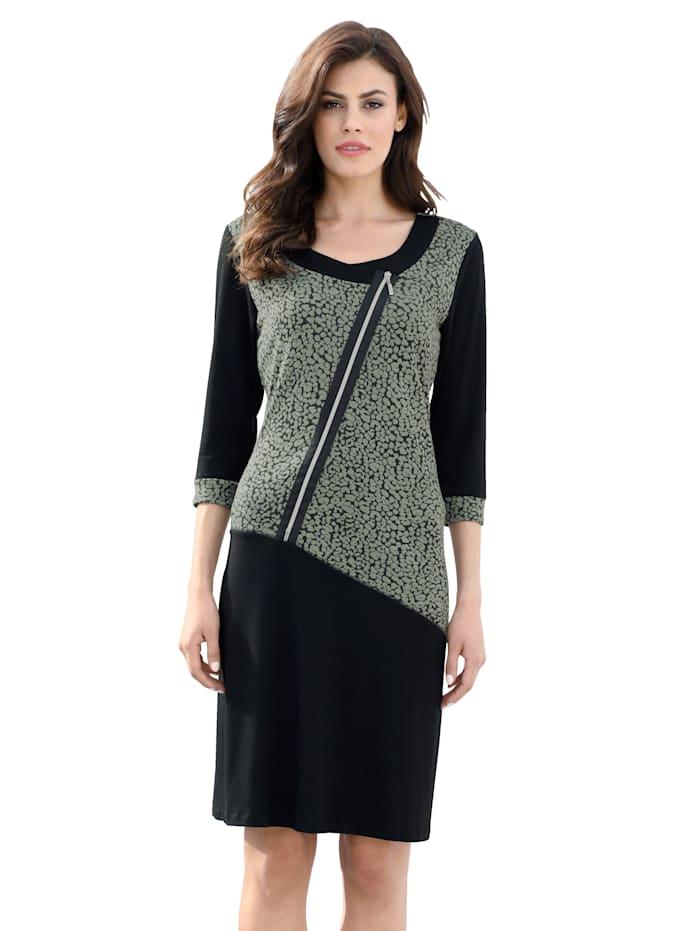 AMY VERMONT Jerseykleid mit dekorativem Reißverschluss, Khaki/Schwarz