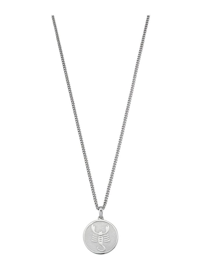 Pendentif signe du zodiaque avec chaîne Scorpion, Blanc
