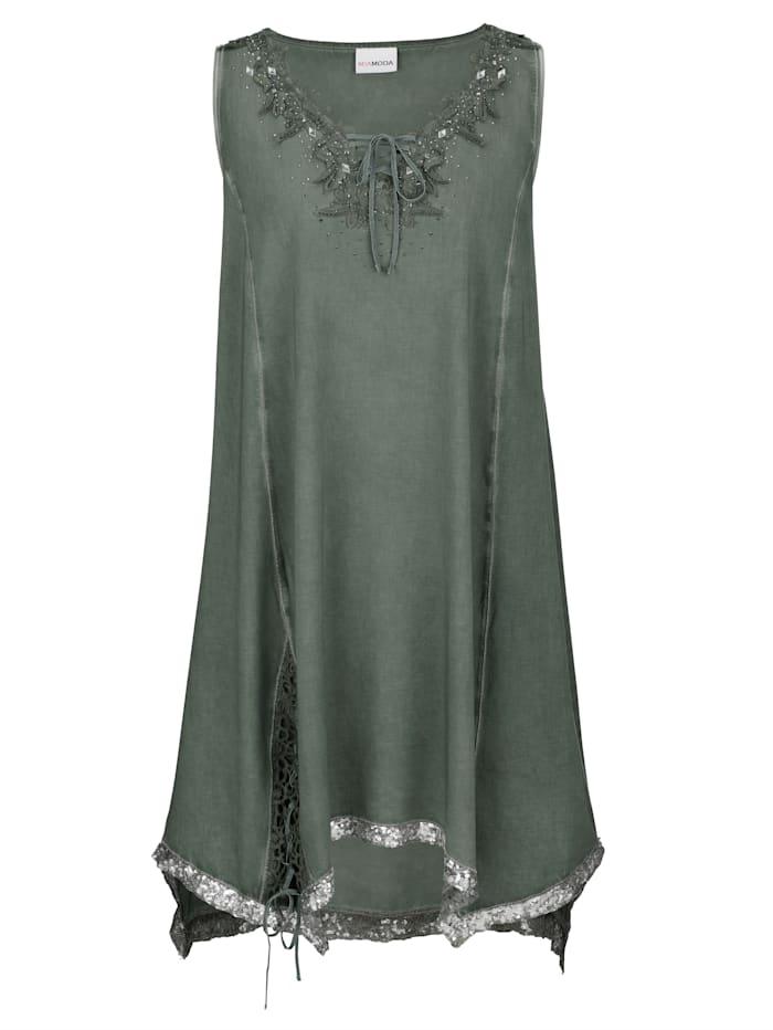 Shirtkleid mit glitzernden Schnür-Details