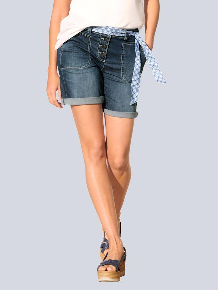 Alba Moda Short van elastische denim, Blue stone