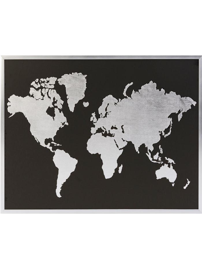 IMPRESSIONEN living Bild, Weltkarte, schwarz/silberfarben