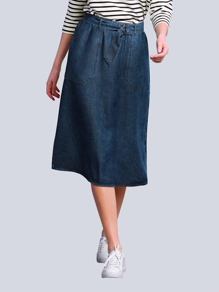 Alba Moda Rok met bindceintuur, Dark blue