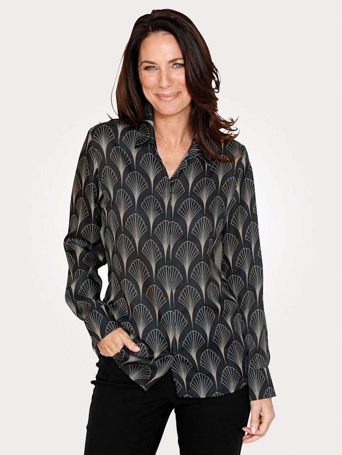 MONA Blouse met grafisch patroon, Zwart/Beige