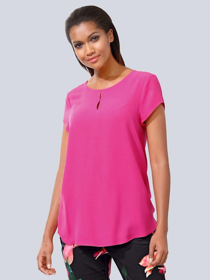 Alba Moda Bluse mit modischer Ausschnittlösung, Pink