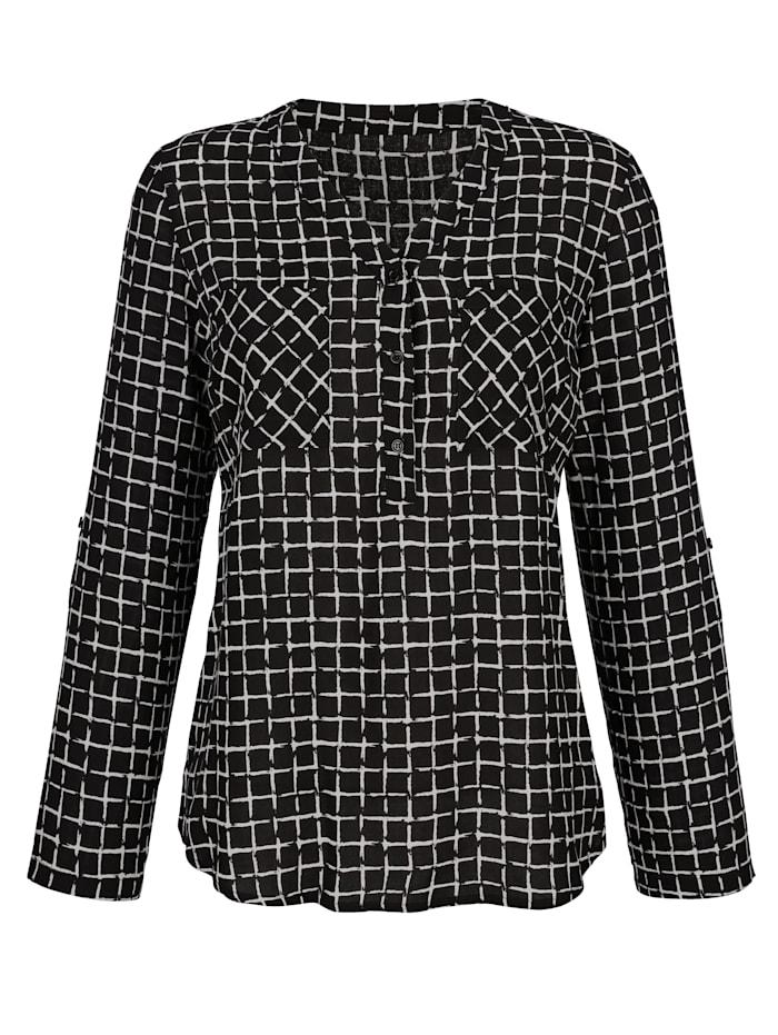 Dress In Bluse mit graifschem Muster, Schwarz