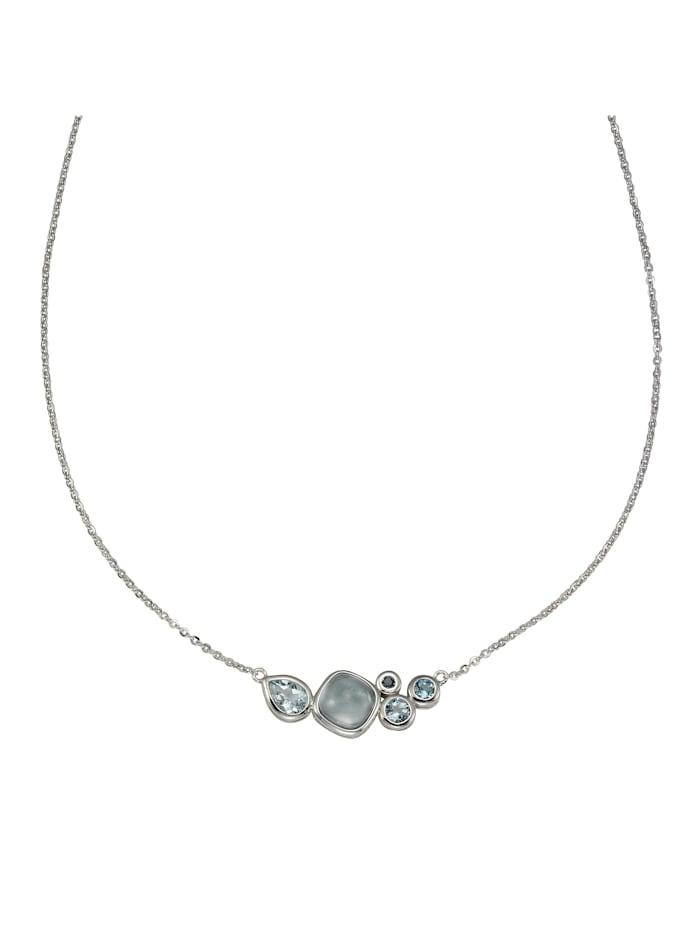 ZEEme Collier 925/- Sterling Silber Blautopas beh. blau 48cm Glänzend, weiß