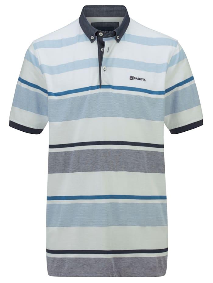 BABISTA Poloshirt met streepdessin rondom, Wit/Blauw