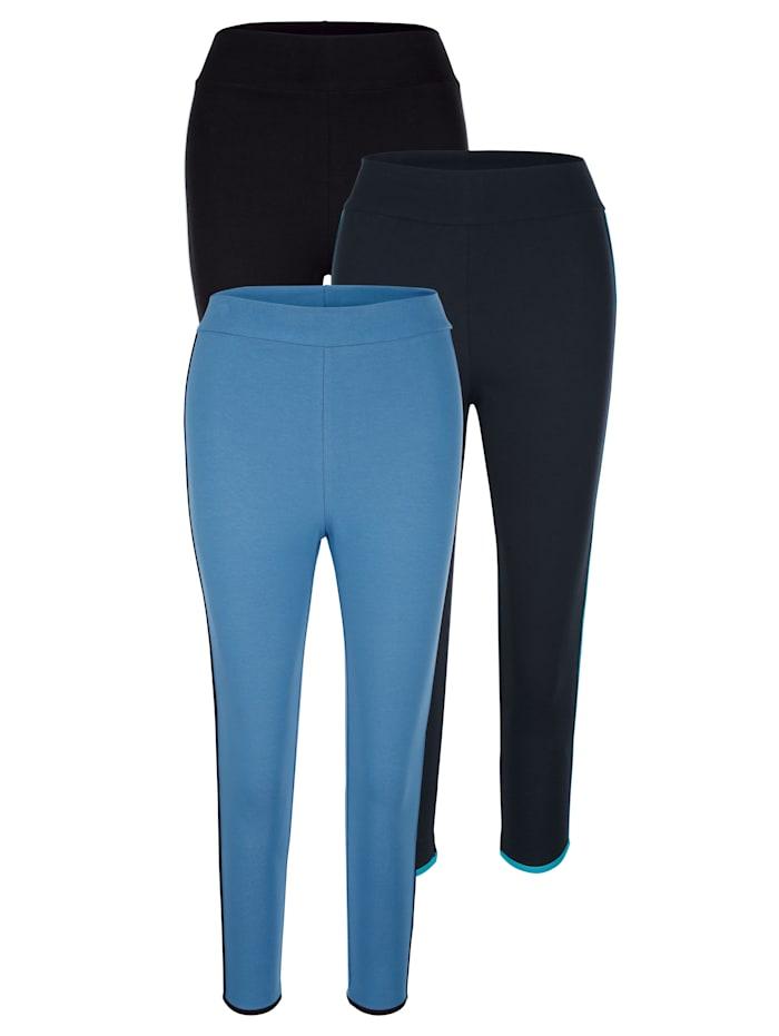 Blue Moon Leggings mit hübscher Kontrastpaspelierung, Schwarz/Marineblau